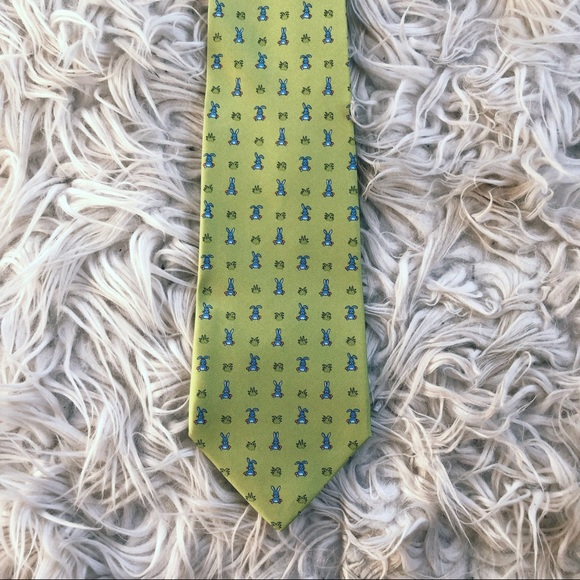 7a9acdfeacdc Hermes Accessories | Herms Silk Bunny Printed Green Tie Mens Blue ...
